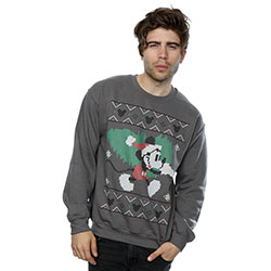 Disney Men's Sweatshirt: Mickey Mouse Christmas Tree