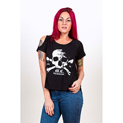 Motley Crue Ladies Fashion Tee: Orbit with Cut-outs