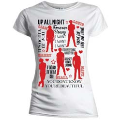 One Direction Ladies Tee: Silhouette Lyrics Red on White with Skinny Fitting