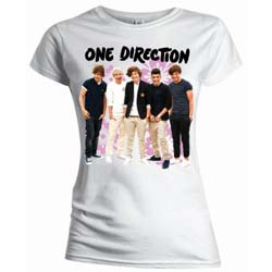 One Direction Kids Girl's Fit Tee: Flowers (with slim fitting)