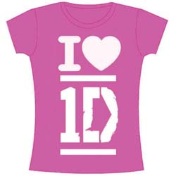 One Direction Ladies Tee: I Love with Skinny Fitting