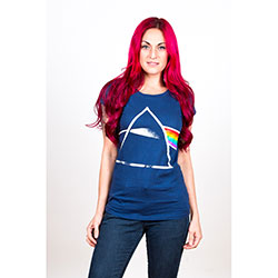 Pink Floyd Ladies Fashion Tee: Dark Side of the Moon with Back Printing