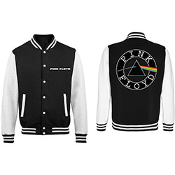 Pink Floyd Men's Varsity Jacket: Dark Side of the Moon Circle Logo with Back Printing