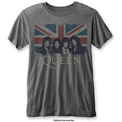 Queen Men's Fashion Tee: Vintage Union Jack with Burn Out Finishing