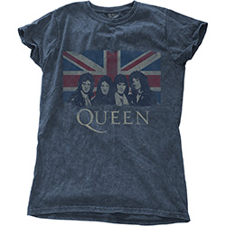 Queen Ladies Fashion Tee: Vintage Union Jack with Snow Wash Finishing