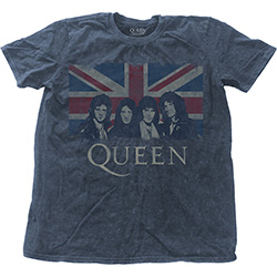Queen Men's Fashion Tee: Vintage Union Jack with Snow Wash Finishing