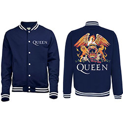 Queen Men's Varsity Jacket: Crest with Back Printing