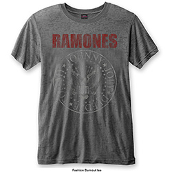 Ramones Men's Fashion Tee: Presidential Seal with Burn Out Finishing