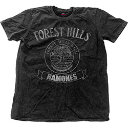 Ramones Men's Fashion Tee: Forest Hills Vintage with Snow Wash Finishing