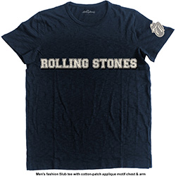 The Rolling Stones Men's Fashion Tee: Logo & Tongue with Applique Motifs