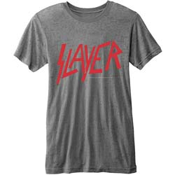 Slayer Men's Fashion Tee: Classic Logo with Burn Out Finishing