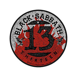 Black Sabbath Standard Patch: 13 / Flames Circular