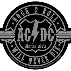 AC/DC Standard Patch: Rock N Roll Will Never Die Cut-Out