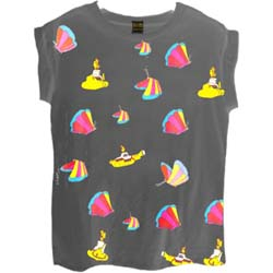 The Beatles Ladies Fashion Tee: Yellow Submarine Butterflies with All-over-printing
