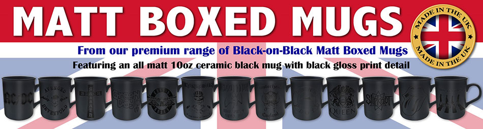 Black on Matt Black Premium Boxed Mugs