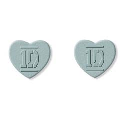 One Direction Earrings: Silver Colour Heart