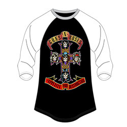 Guns N' Roses Ladies Raglan Tee: Appetite for Destruction (Size 18 Only)
