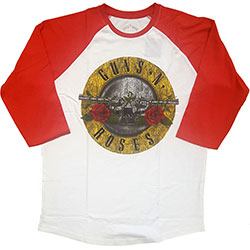 Guns N' Roses Men's Raglan Tee: Badge Distressed (Medium)