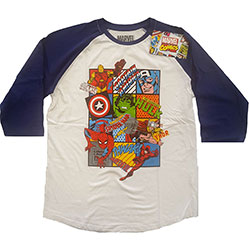 Marvel Comics Unisex Raglan Tee: Marvel Character Strip