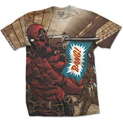 Marvel Comics Men's Tee: Deadpool Bang (Large) (Sublimation Print)