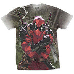 Marvel Comics Men's Tee: Deadpool Cash (X-Large) (Sublimation Print)