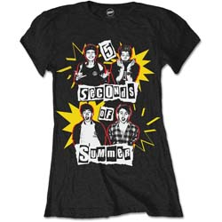 5 Seconds of Summer Ladies Tee: Punk Pop Photo