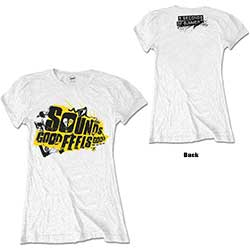 5 Seconds of Summer Ladies Tee: Sounds Good Album with Back Printing & Skinng Fitting