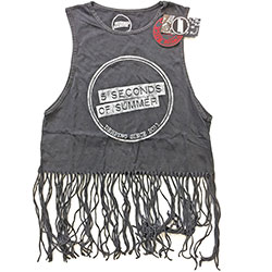 5 Seconds of Summer Ladies Tee Vest: Derping Stamp Vintage (Tassels)