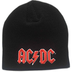 AC/DC Men's Beanie Hat: Red 3D Logo