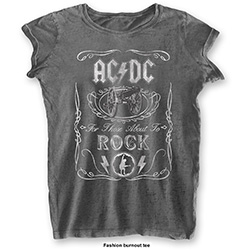 AC/DC Ladies Tee: Cannon Swig (Burn Out)