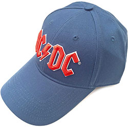 AC/DC Men's Baseball Cap: Red Logo (Denim Blue)