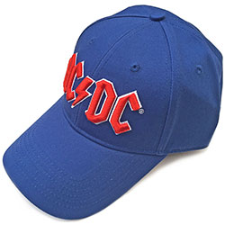 AC/DC Men's Baseball Cap: Red Logo (Mid Blue)