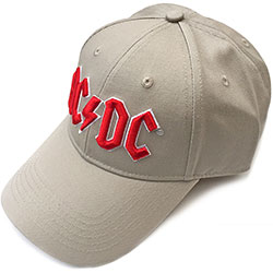 AC/DC Men's Baseball Cap: Red Logo (Sand)