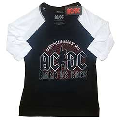 AC/DC Unisex Raglan Tee: Hard As Rock