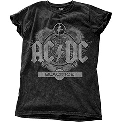 AC/DC Ladies Fashion Tee: Black Ice with Snow Wash Finishing