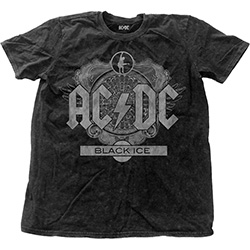 AC/DC Men's Fashion Tee: Black Ice with Snow Wash Finishing