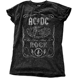 AC/DC Ladies Fashion Tee: Cannon Swig Vintage with Snow Wash Finishing