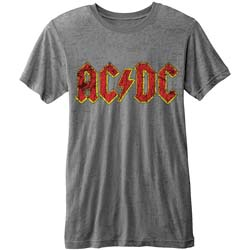 AC/DC Men's Fashion Tee: Logo (Burn Out)
