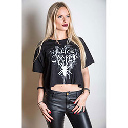 Alice Cooper Ladies Fashion Tee: Spider Splatter with Boxy Styling and Illuminous Printing