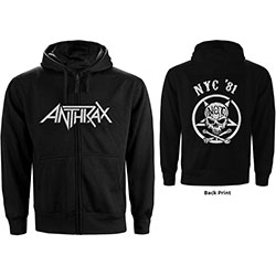 Anthrax Unisex Zipped Hoodie: Not Man NYC (Back Print)