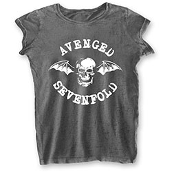 Avenged Sevenfold Ladies Tee: Deathbat (Burn Out)