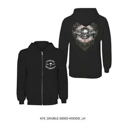 Avenged Sevenfold Men's Zipped Hoodie: Logo Flourish with Back Printing