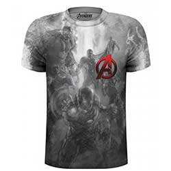 Marvel Comics Men's Tee: Avengers Montage Pocket Logo with Sublimation Printing (X-Large)