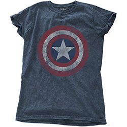 Marvel Comics Ladies Fashion Tee: Avengers Assemble Cap with Snow Wash Finishing