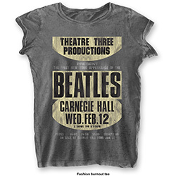 The Beatles Ladies Fashion Tee: Carnegie Hall (Burn Out)