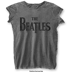 The Beatles Ladies Tee: Drop T Logo (Burn Out)