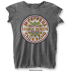 The Beatles Ladies Tee: Sgt Pepper Drum (Burn Out)