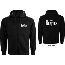 The Beatles Unisex Zipped Hoodie: Drop T Logo (Back Print)