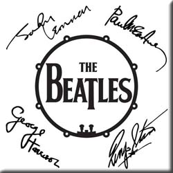 The Beatles Fridge Magnet: Signed Drum Logo