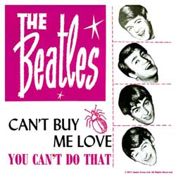 The Beatles Single Cork Coaster: Cant Buy me love/You cant do that